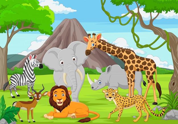 Animais selvagens dos desenhos animados na selva