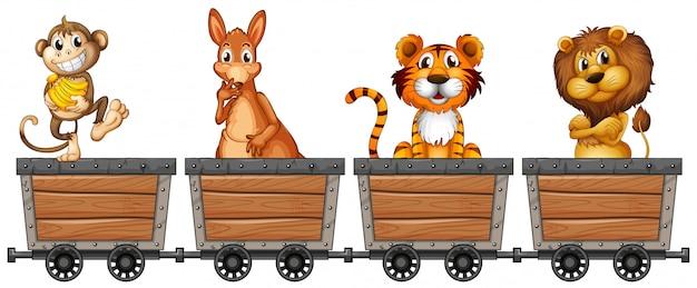 Animais selvagens em carrinhos de mineração