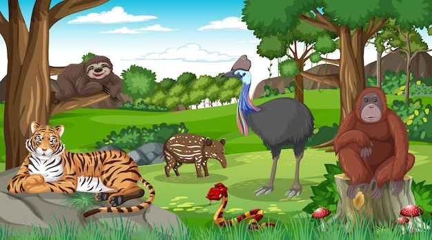 Animais selvagens em cena de floresta com muitas árvores
