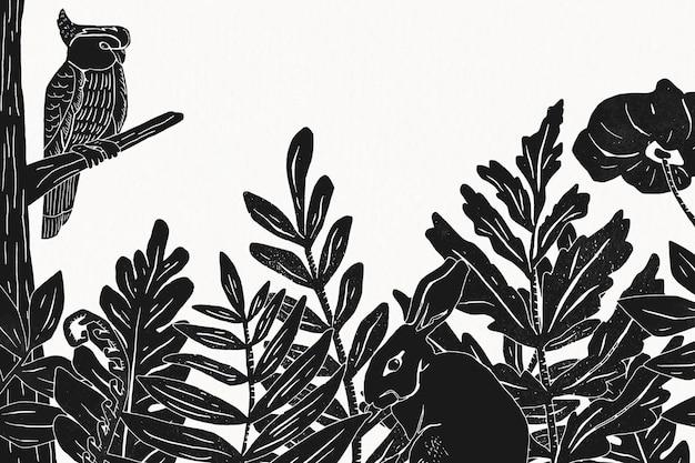 Animais selvagens emolduram fundo botânico de selva vintage