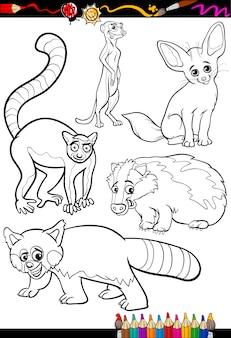 Animais selvagens estabelecidos para colorir livro