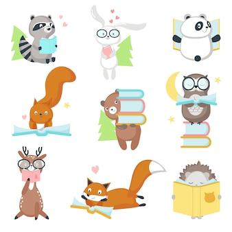 Animais selvagens fofos, lendo o conjunto de ícones de livros