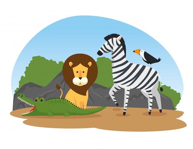 Animais selvagens fofos na reserva do safari