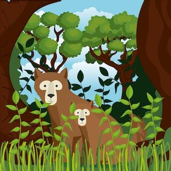 Animais selvagens na cena da selva