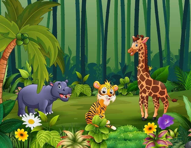 Animais selvagens vivendo na selva