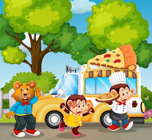 Animais servindo pizza no parque