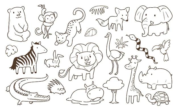 Animais simples doodle