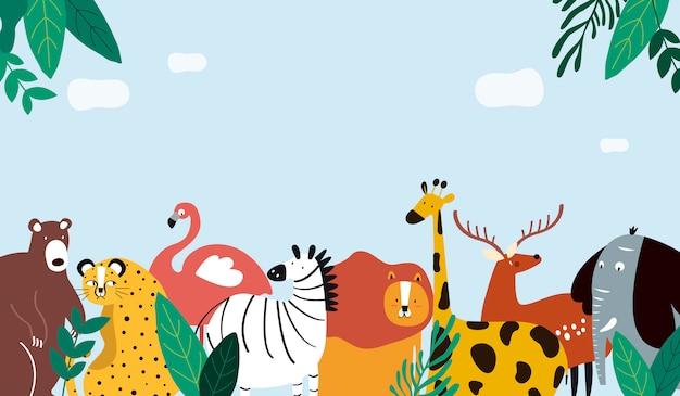 Animais, tema, modelo, ilustração