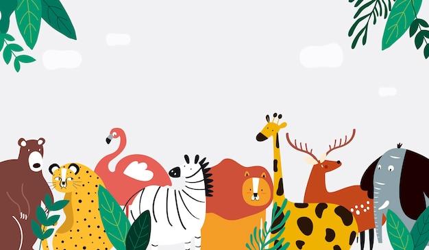 Animais tema modelo vector illustration