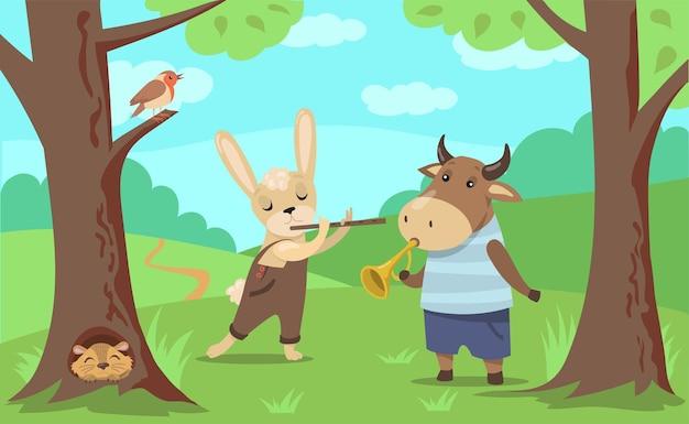 Animais tocando ilustração musical