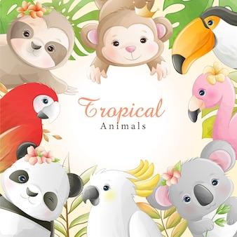 Animais tropicais bonitos dos desenhos animados em aquarela com flores