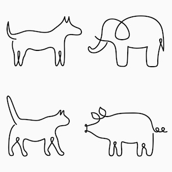 Animais um desenho de linha impressão de linha contínua gato cachorro porco elefante ilustração desenhada à mão