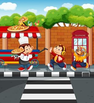 Animais vendendo pizza no parque