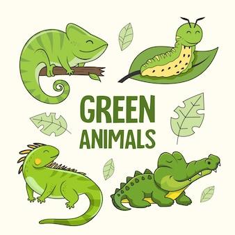 Animais verdes dos desenhos animados iguana camaleão crocodilo lagarta jacaré