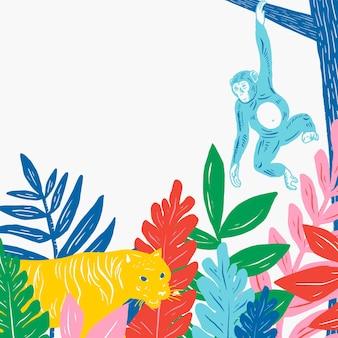 Animais vintage emolduram o fundo colorido da selva de linogravura