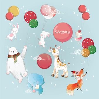 Animais voando com balões