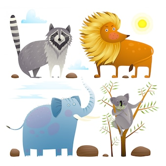 Animais zoológico clip art coleção leão elefante guaxinim coala conjunto de design