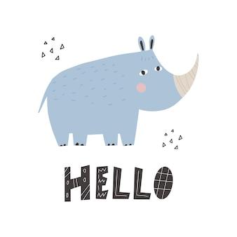 Animal africano fofo rinoceronte em estilo escandinavo com a inscrição olá animal de desenho animado