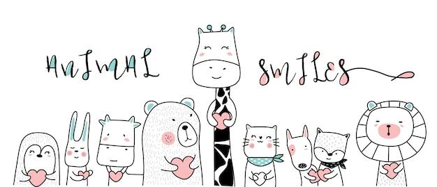 Animal bebê fofo com estilo de mão desenhada de coração dos desenhos animados