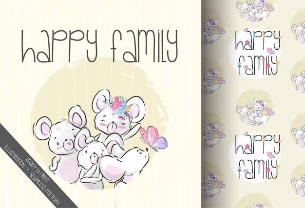 Animal bebê fofo rato família feliz sem costura padrão