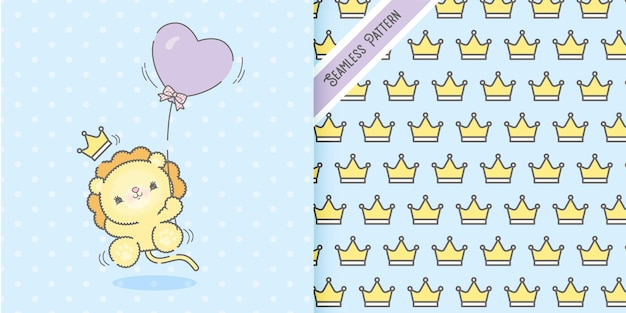 Animal bebê leão feliz plana fofa voando com conjunto de padrão de balão e coroas
