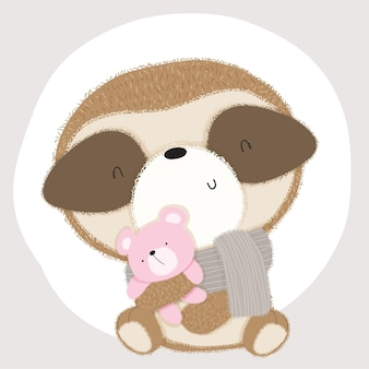 Animal bebê preguiça fofa