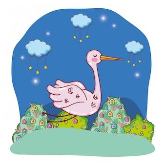 Animal bonito ao ar livre dos desenhos animados