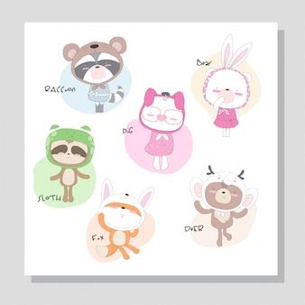 Animal bonito coleção com ilustração de chapéu bonito para crianças