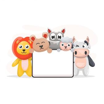 Animal bonito com desenhos animados do quadro-quadro