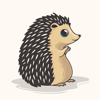 Animal bonito do porco-espinho dos desenhos animados do ouriço