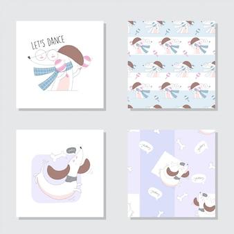 Animal bonito dos desenhos animados conjunto padrão sem emenda