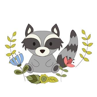 Animal bonito em estilo cartoon. guaxinim da floresta com elementos de design de floresta. ilustração vetorial.