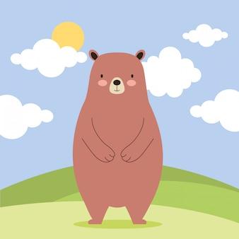 Animal bonito na natureza dos desenhos animados