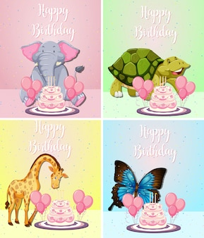 Animal bonito no cartão de aniversário