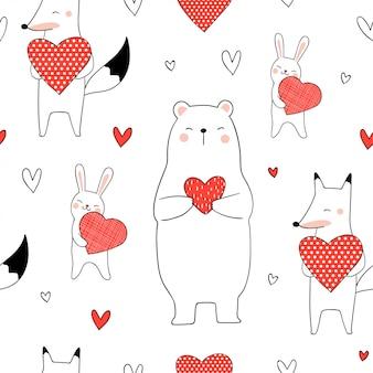 Animal bonito padrão sem emenda, segurando o coração vermelho para dia dos namorados