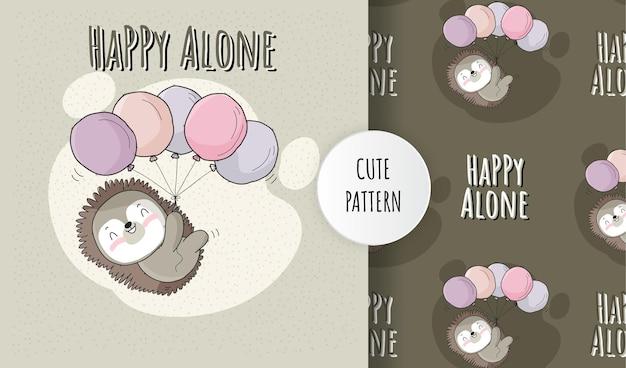 Animal bonito porco-espinho feliz voando com conjunto de padrão de balão