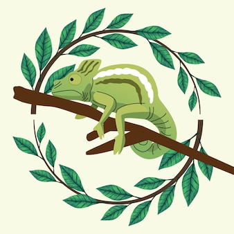 Animal camaleão selvagem com folhas ao redor