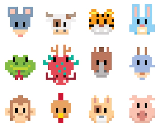 Animal cartoon - pixel art