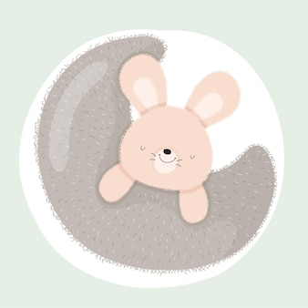 Animal coelhinho bebê na lua fofo