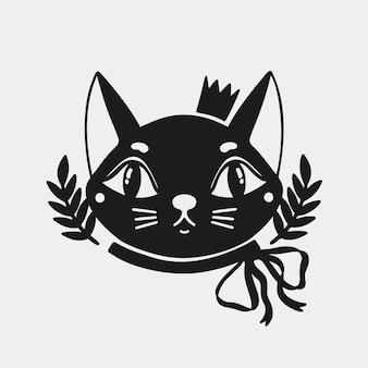 Animal com cara de gato em uma coroa e com um laço no pescoço.