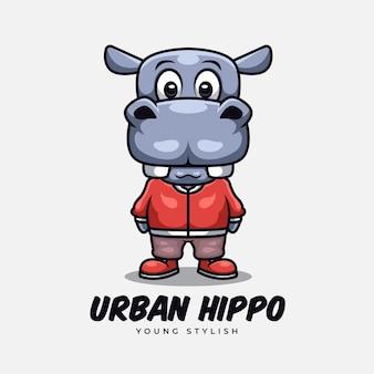 Animal com logotipo mascote de hipopótamo urbano fofo
