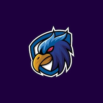 Animal criativo moderno águia pássaro cabeça esport emblema de design de logotipo personagem de ícone de vetor
