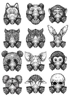 Animal da arte da tatuagem usando uma máscara protetora, desenhando e desenhando em preto e branco