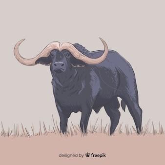 Animal de búfalo desenhado à mão realista