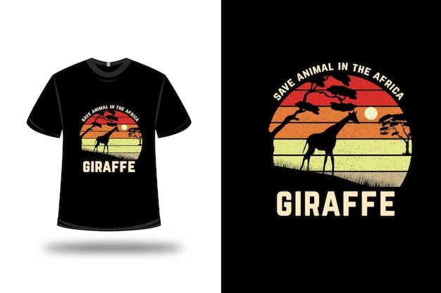 Animal de camiseta na girafa africana cor laranja vermelho e marrom claro