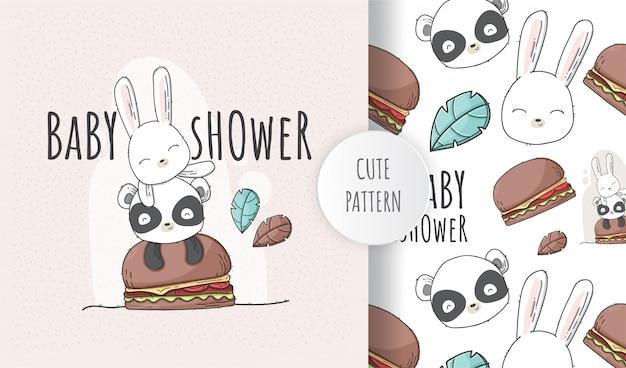 Animal de chuveiro liso sem costura padrão bebê fofo