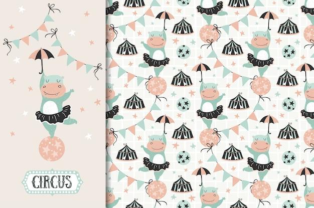 Animal de circo. menina hipopótamo com ilustração de guarda-chuva e padrão sem emenda