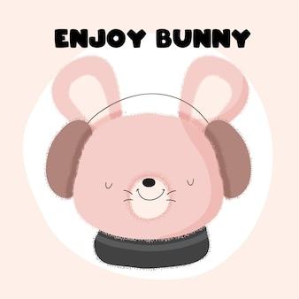 Animal de coelho bebê e estilo simples de desenho animado de música