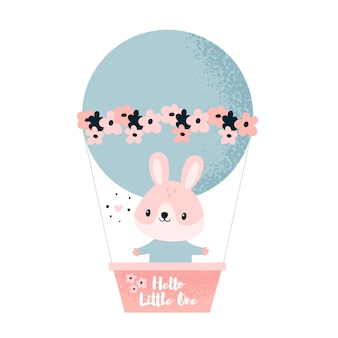 Animal de coelho. coelho pequeno que voa em um balão com flores. olá pequenino