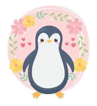 Animal de desenho animado bonito pinguim pequeno flores corações